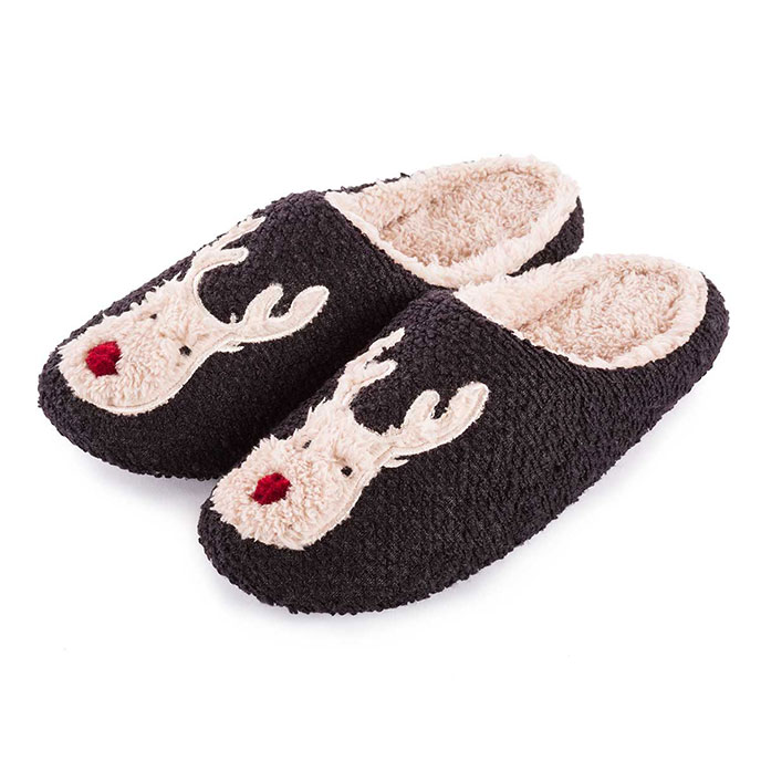 totes Mens Reindeer Novelty Mule Slippers Black