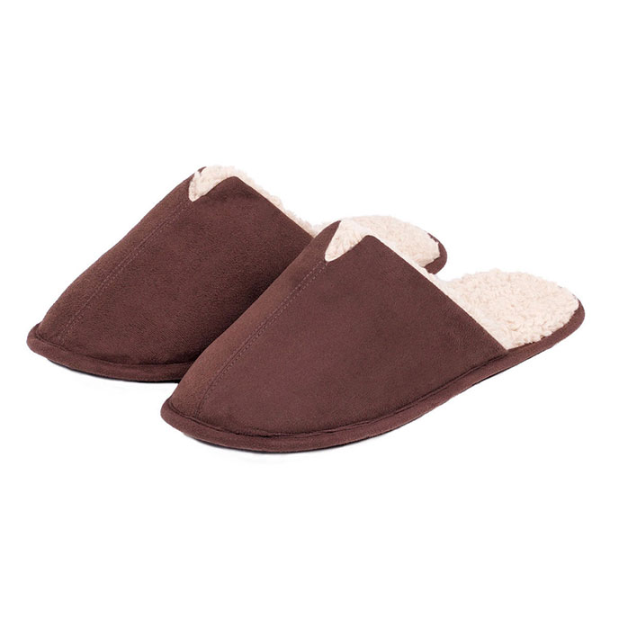 totes Mens Suedette Mule Slippers Chocolate