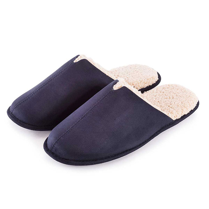 totes Mens Suedette Mule Slippers Navy