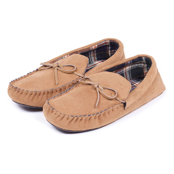 totes Mens Suedette Moccasin With Check Lining Slippers Tan