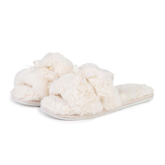totes Ladies Fluffy Open Toe Slider Slippers Cream