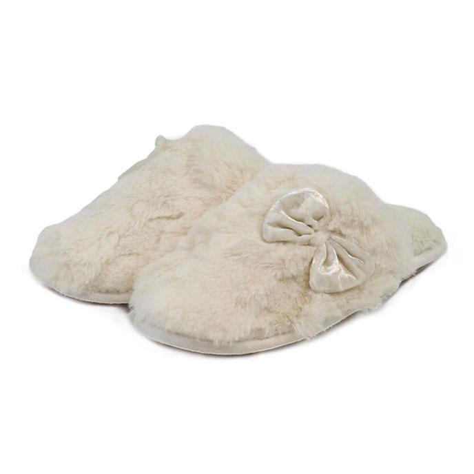 totes Ladies Textured Fur Mule Slippers