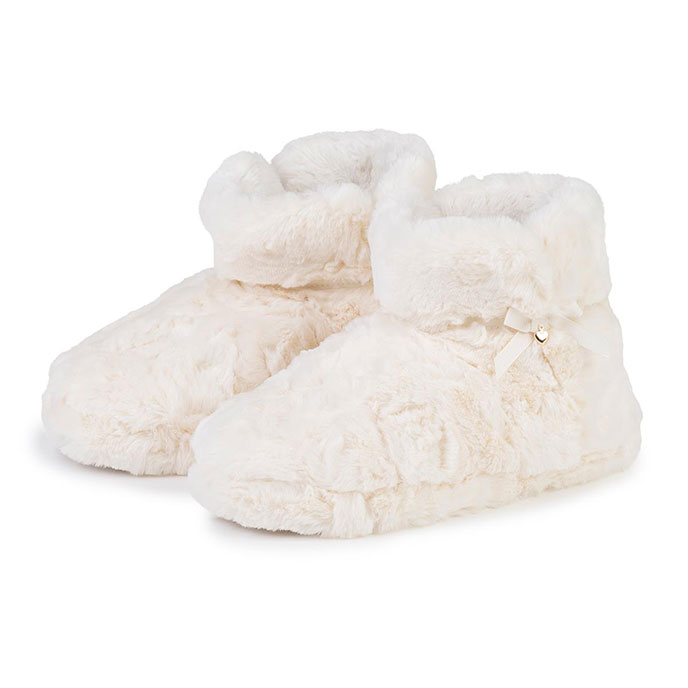 totes Ladies Fluffy Bootie Slippers Cream
