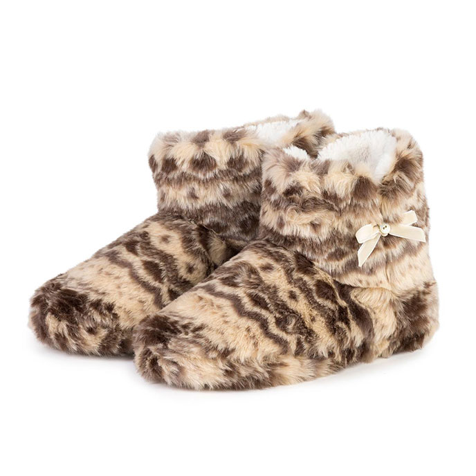 totes Ladies Aztec Furry Booties Beige