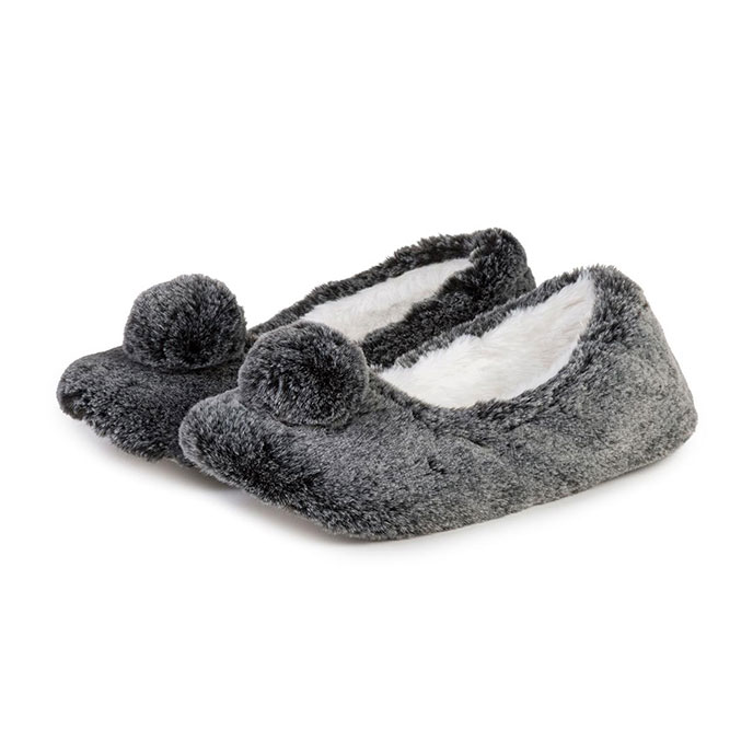 totes Ladies Furry Ballet Slipper  Grey