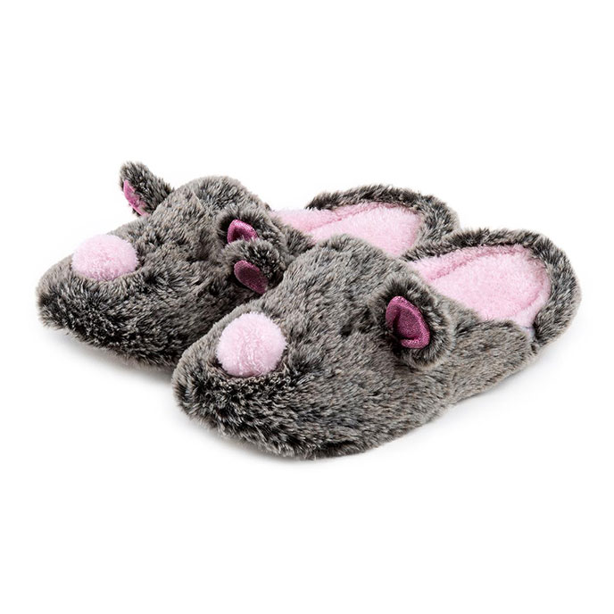 totes Ladies Novelty Mule Slippers Mouse