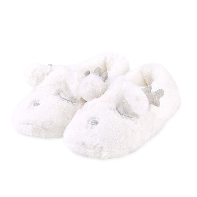 totes Ladies Novelty Reindeer Mule Slipper White