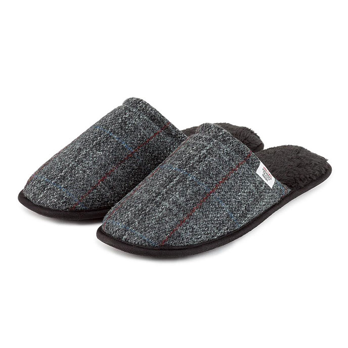 totes Mens Harris Tweed Mule Slippers Charcoal Tweed