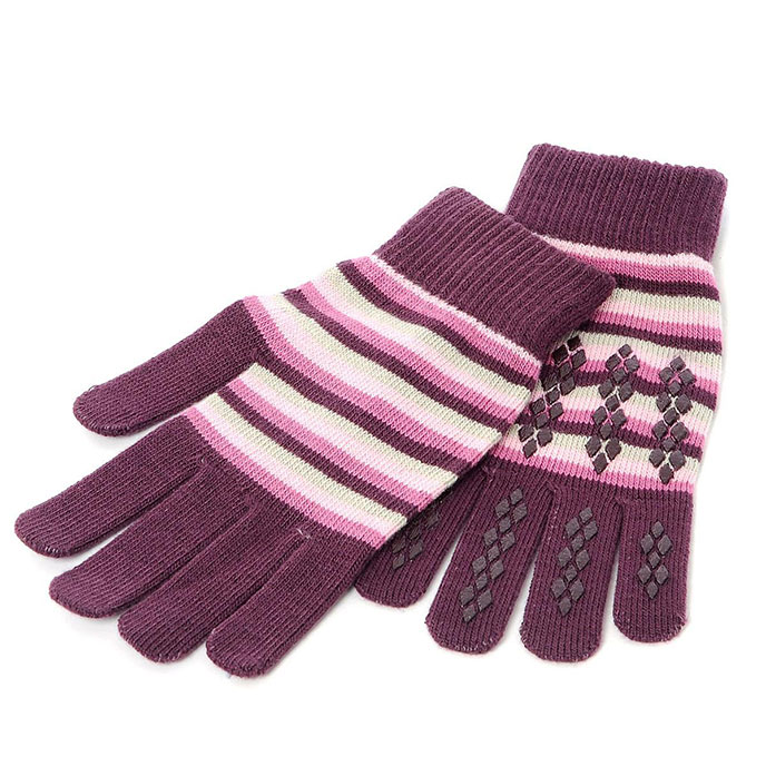 totes Ladies Original Stretch Gloves Plum Stripe