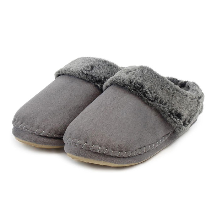 totes Ladies Suedette Fur Mule Slippers Grey