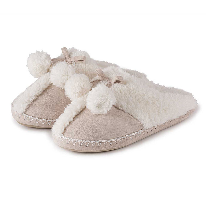 totes Ladies Suedette Mule Slippers Natural
