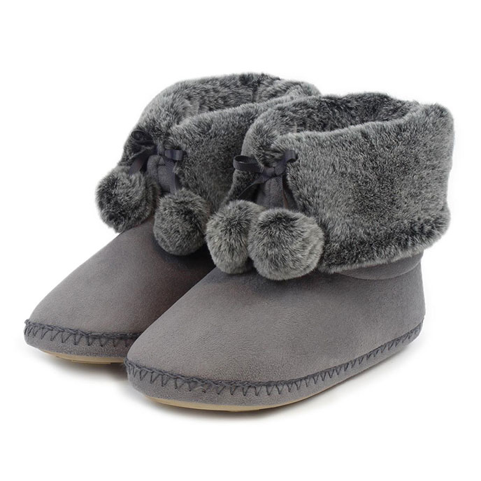 totes Ladies Suedette Fur Booties Grey
