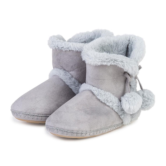 totes Ladies Suedette Bootie Slippers Grey