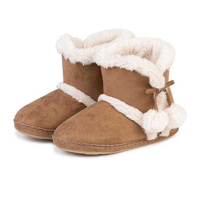 totes Ladies Suedette Booties Tan