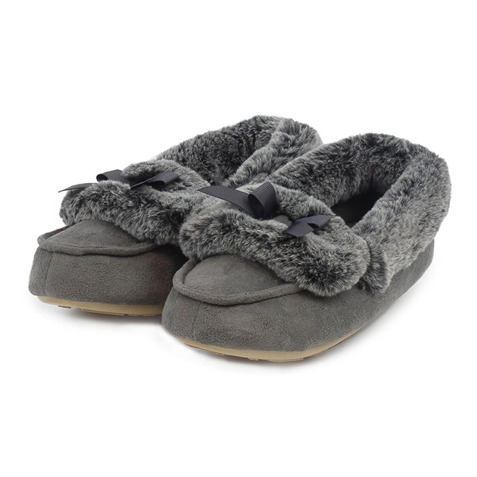 totes Ladies Suedette Fur Moccasin Slippers Grey
