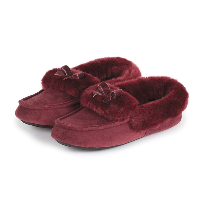 totes Ladies Suedette Moccasin Slippers Berry
