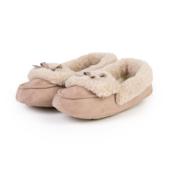 totes Ladies Suedette Moccasin Slippers Natural
