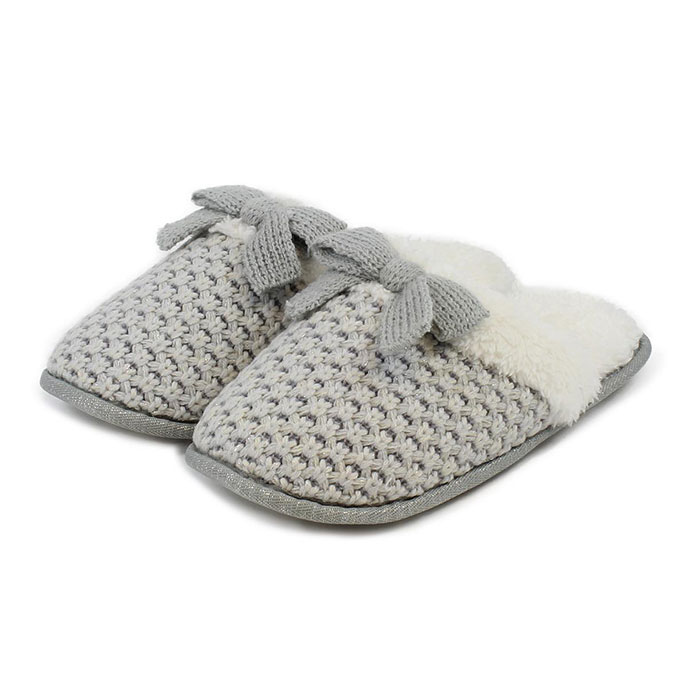 totes Ladies Waffle Knit Mule Slippers Grey