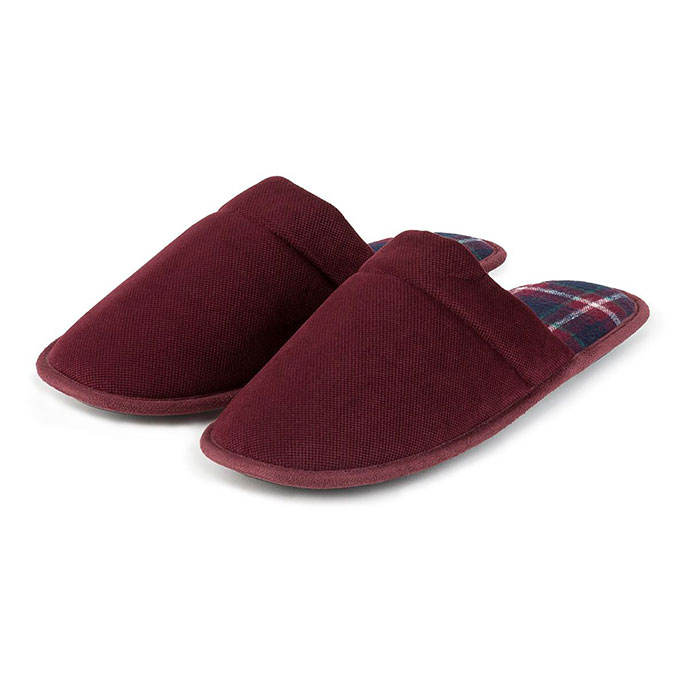 totes Mens Check Lined Cord Mule Slippers Burgundy