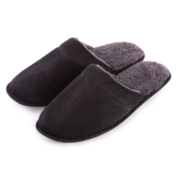 totes Mens Cord Mule Slippers Black