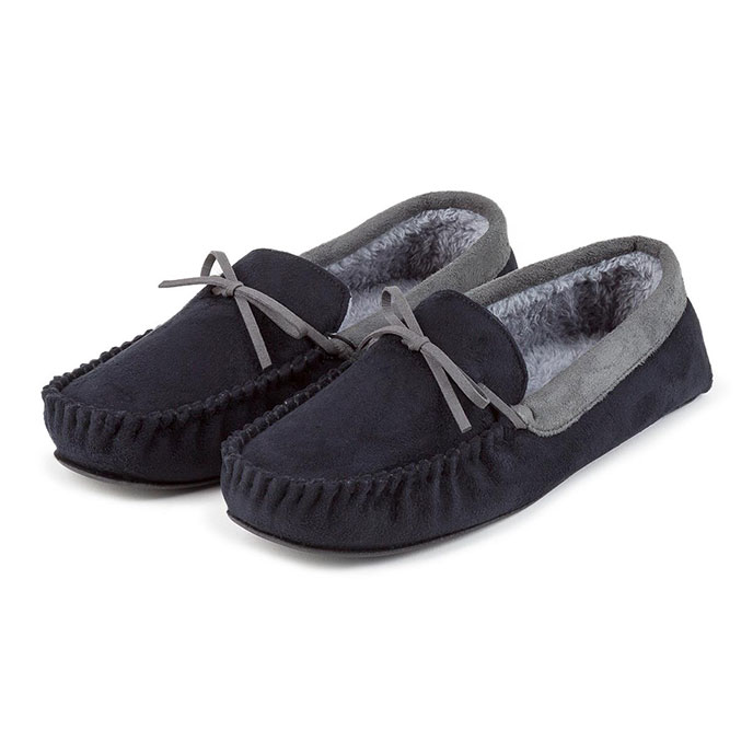 totes Mens Suedette Moccasin Slippers Black/Grey