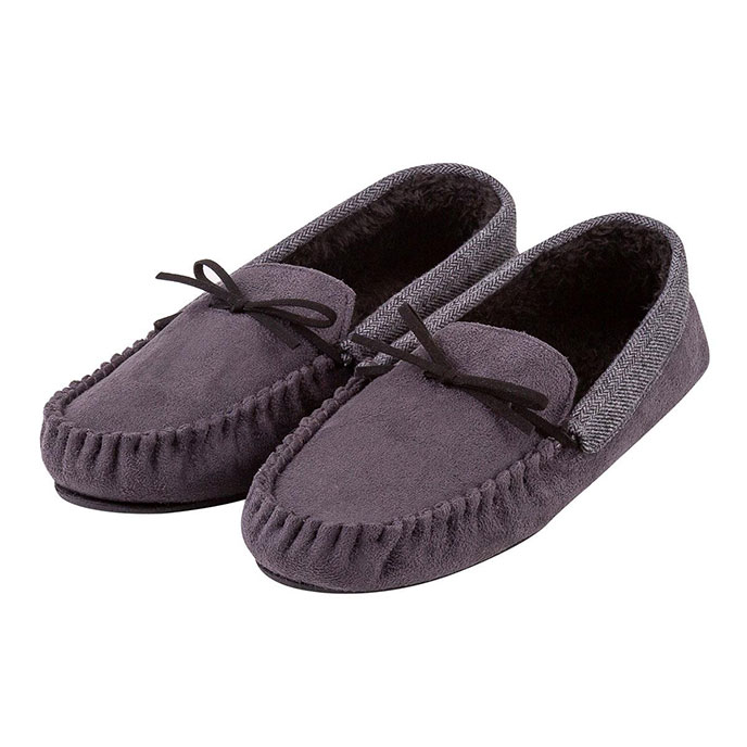 totes Mens Contrast Cuff Suedette Moccasin Slipper Grey