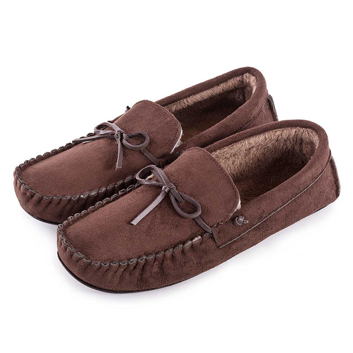 totes Mens Suedette Moccasin Slippers Chocolate