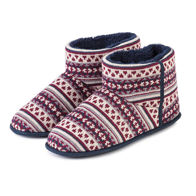 totes Mens Fair Isle Knit Boot Slippers | totes ISOTONER