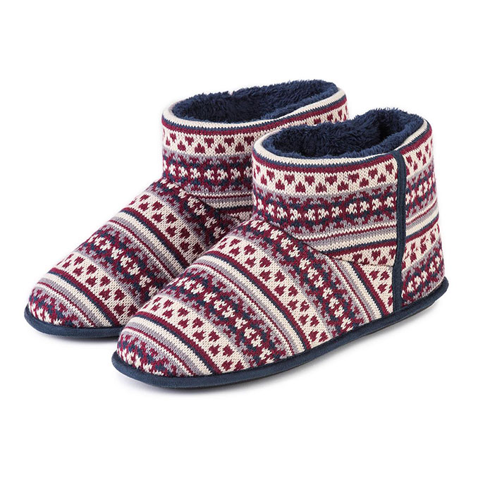 totes Mens Fair Isle Knit Booties Navy/Berry