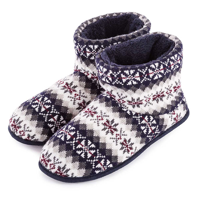 totes Mens Fair Isle Knit Bootie Slippers Multi