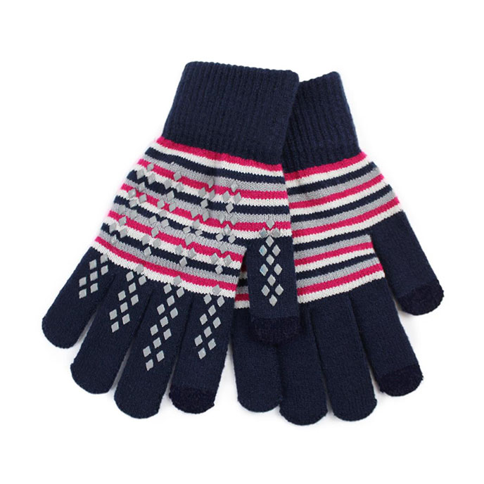 totes Ladies Original Smartouch Gloves Blue Stripe