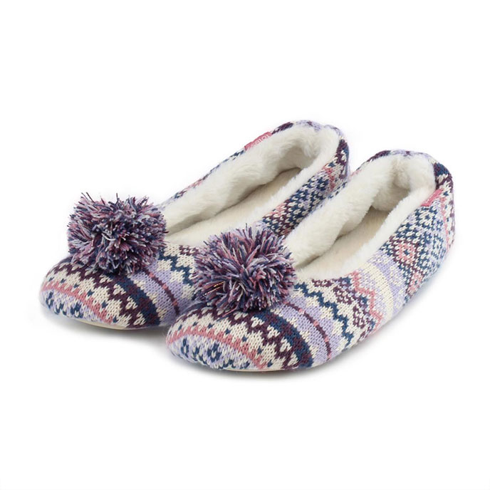 totes Ladies Fair Isle Ballet Slippers Lilac/Pink