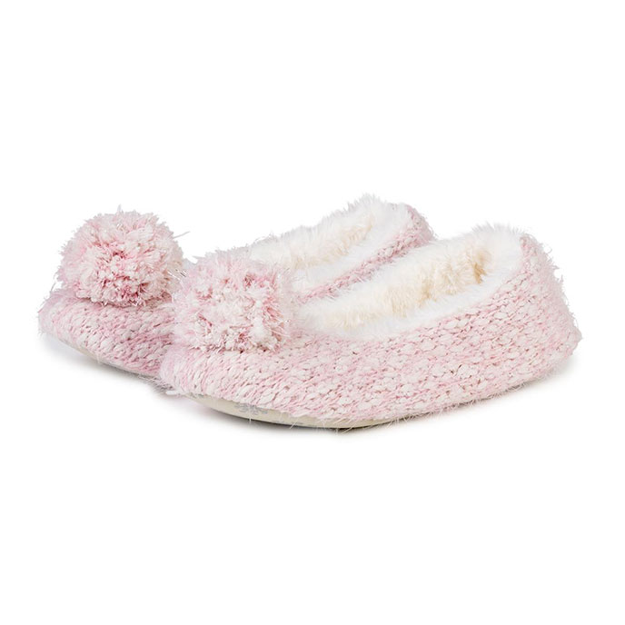 totes Ladies Knit Pom Pom Ballet Slippers Pink Knit