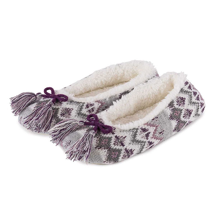 totes Ladies Fair Isle Ballet Slippers Grey/Berry
