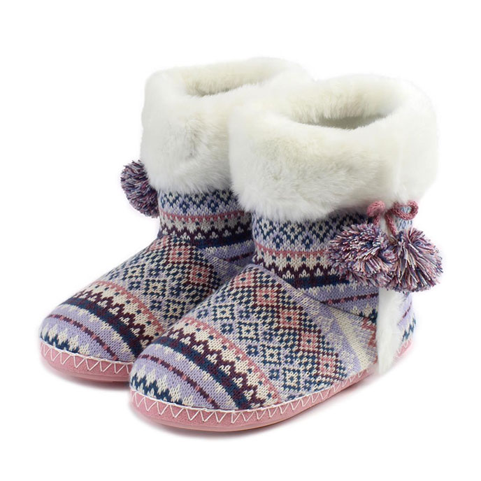 totes Ladies Fair Isle Booties Lilac/Pink