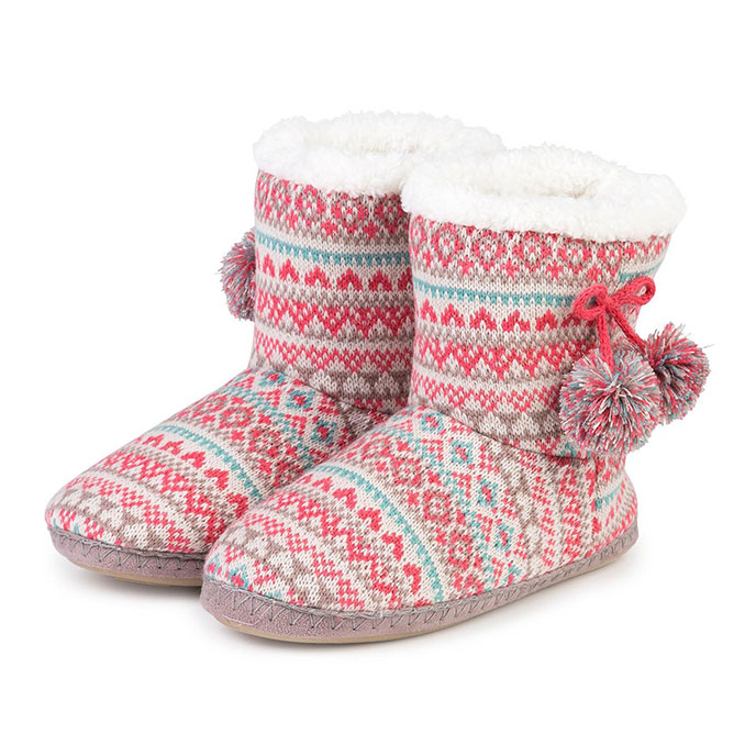 totes Ladies Knit Pom Pom Bootie Slippers Coral Fairisle