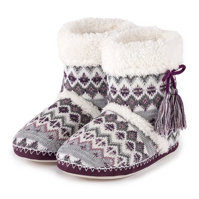 totes Ladies Fair Isle Bootie Slippers Grey/Berry