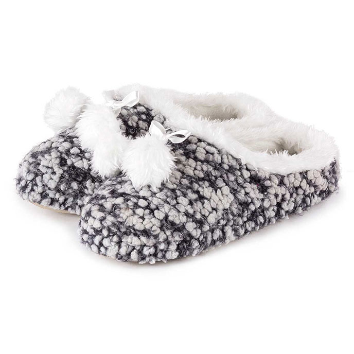 totes Ladies Bobble Knit Mule Slippers Grey