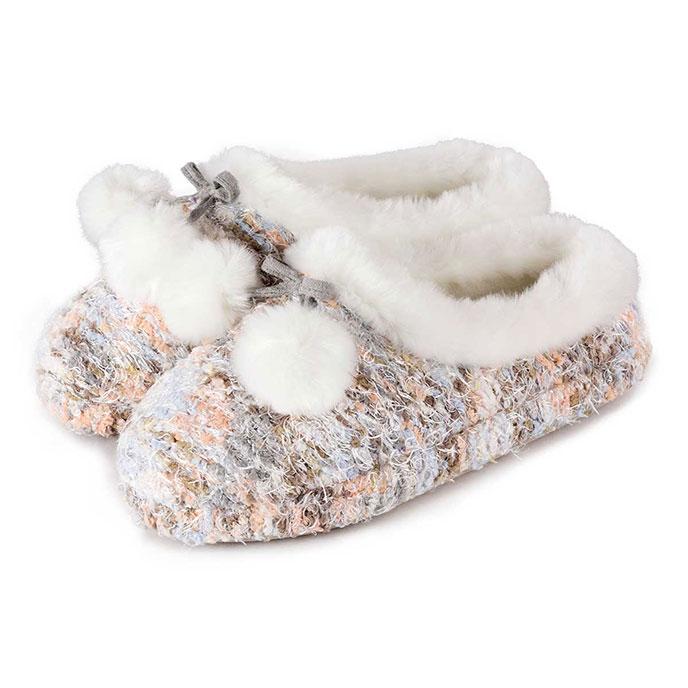 totes Ladies Bobble Knit Mule Slippers Multi Large (UK 78)