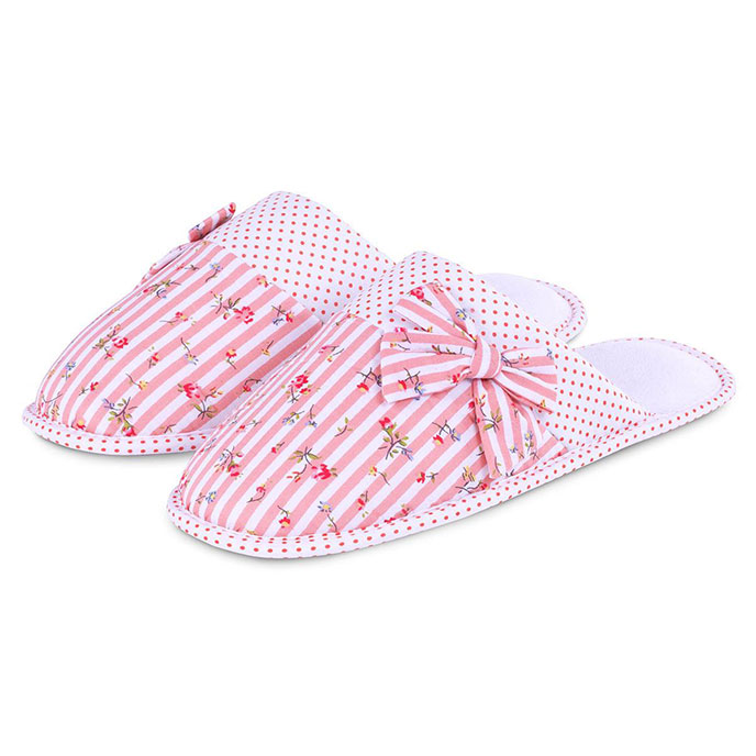 totes Stripe Mule Slippers with Spot Lining Coral