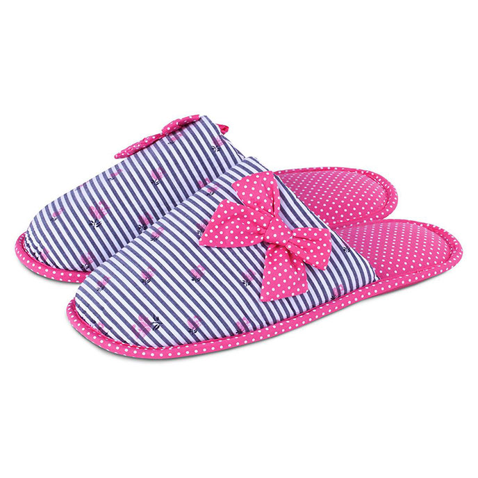 totes Spot and Stripe Mule Slippers Pink and White