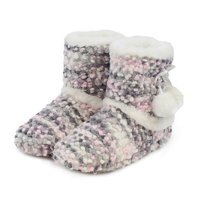 totes Ladies Bobble Knit Booties Pink/Grey