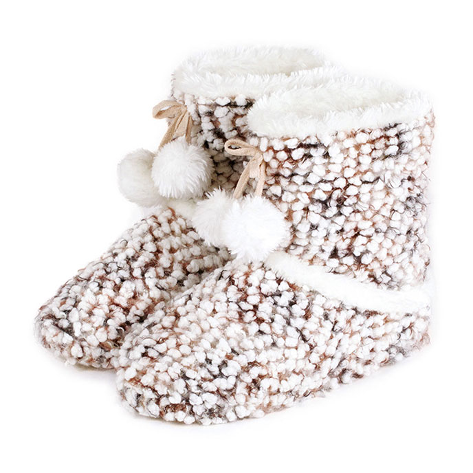 totes Ladies Bobble Knitted Bootie Slippers Beige