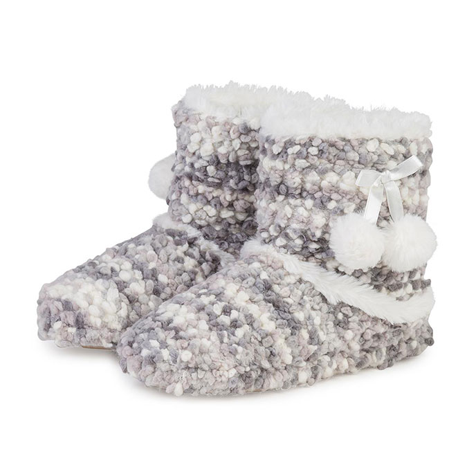 totes Ladies Bobble Knit Booties Grey
