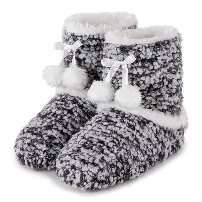totes Ladies Bobble Knit Bootie Slippers Grey