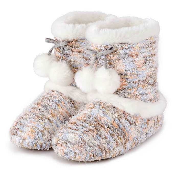 totes Ladies Bobble Knit Bootie Slippers Multi Large (UK 78)