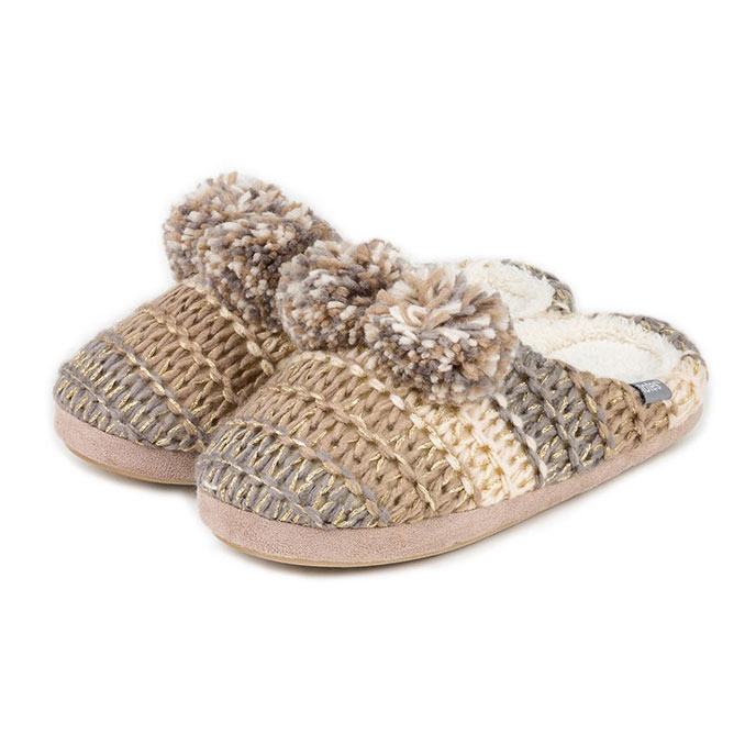 totes Ladies Knitted Mule Slippers Brown/Cream