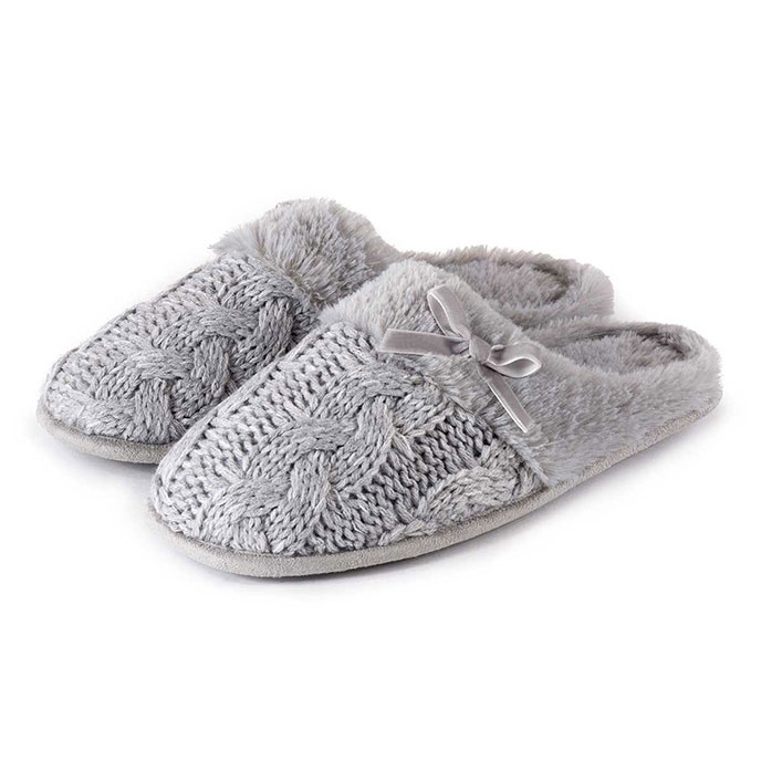 totes Ladies Cable Knit Mule Slippers Grey