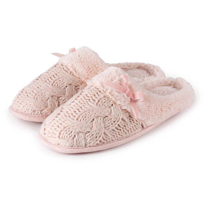 totes Ladies Cable Knit Mule Slippers Pink Large (UK 78)
