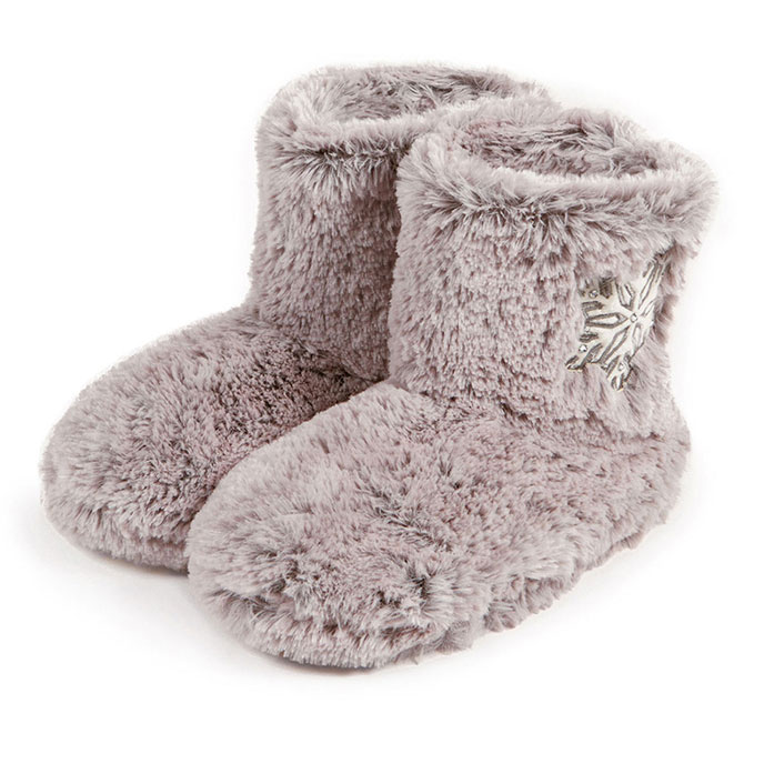totes Ladies Fur Bootie With Snowflake Design Slippers Grey